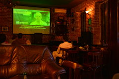 Dumitru Prunariu cosmonaut in the Asteroid Day Event movie on 30 June 2015, at Karolina pub from Cluj-Napoca, Romania Stock Images