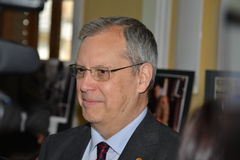 Dumitru Prunariu cosmonaut interview at the Astro-photo exibition at the UNIVERSitarium astro-symposium. Stock Photos