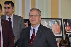 Dumitru Prunariu-Kosmonaut an der Astrofotoausstellung am UNIVERSitarium-astrosymposium Lizenzfreies Stockfoto