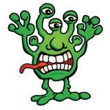 Dumme ausländische Monster-Geschöpf-Karikatur-Vektor-Illustration Lizenzfreies Stockfoto