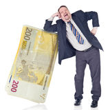 Dummer Banker, der Euro vertraut lizenzfreies stockfoto