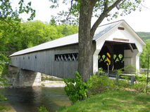 Dummerston,VT. Covered Bridge. The Dummerston covered bridge is 267' long and 22' wide. It is a truss bridge constructed in 1872 by Caleb B. Lamson and is the Royalty Free Stock Image
