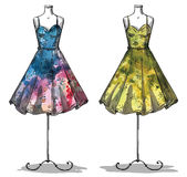 Dummies with dresses. Fashion illustration. Stock Photography