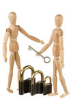 Dummies, locks and key Royalty Free Stock Photo