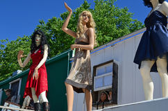 Dummies on rooftop by Route 66, Seligman, USA Royalty Free Stock Image