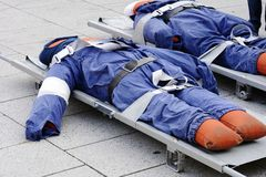 Dummies on a stretcher. For an emergency exercise royalty free stock image