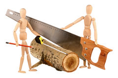 Dummies, tools and log Royalty Free Stock Photo