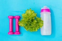 Dummköpfe, Flasche Wasser und Salat verlässt auf Yogamatte Stockfotografie
