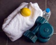 Dummköpfe sind nahe bei einem weißen Tuch, Flasche Wasser und Zitrone Lizenzfreies Stockfoto