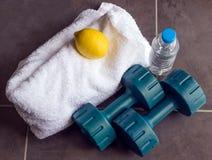 Dummköpfe sind nahe bei einem weißen Tuch, Flasche Wasser und Zitrone Lizenzfreie Stockbilder