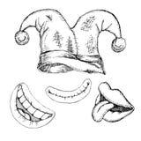 Dummkopf ` s Tag Ein Satz lokalisierte Gegenstände für einen Tag des Gelächterdesigns Einfarbige Handzeichnung in der Skizzenart  vektor abbildung