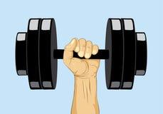 Dummkopfgewicht Hand mit Dummkopfgewicht Stockfoto