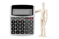 Dummy with the calculator Stock Photography