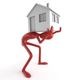 Dummy carrying house on his back Royalty Free Stock Image