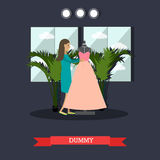 Dummy concept vector illustration in flat style. Vector illustration of dressmaker or clothing designer standing next to dummy dressed in new pink evening gown Stock Photography