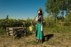 Dummy of a Cossack woman in a setting. Dummy of a Cossack woman in the everyday life Royalty Free Stock Photo