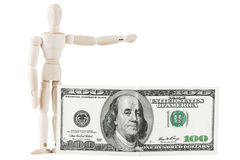 Dummy with dollars Royalty Free Stock Photos