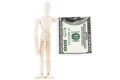 Dummy with dollars Stock Image