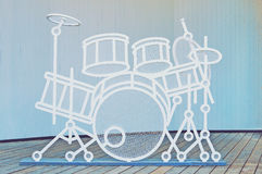 Dummy drum set on a wooden stage stock photo
