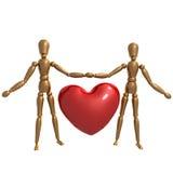 Dummy figure holding valentine heart. Illustration Royalty Free Stock Photos