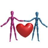 Dummy figure holding valentine heart. Illustration Stock Image