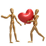 Dummy figure holding valentine heart. Illustration Stock Photo