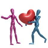 Dummy figure holding valentine heart. Illustration Royalty Free Stock Image