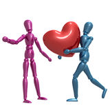 Dummy figure holding valentine heart Royalty Free Stock Image