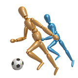 Dummy figure playing soccer ball.  Royalty Free Stock Image