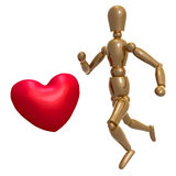 Dummy figure running for love Stock Photos