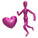 Dummy figure running for love Stock Photo