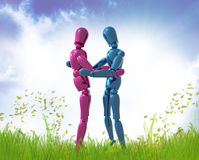 Dummy figures hug each other Royalty Free Stock Photo