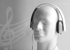 Dummy with headphones Stock Photo