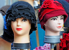Dummy heads with hats Royalty Free Stock Image