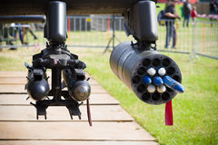 Dummy helicopter rockets. Dummy rockets under an AH-64 apache helicopter Royalty Free Stock Images