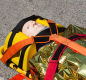 Dummy immobilized on a stretcher Stock Image