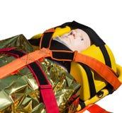 Dummy immobilized on a stretcher Stock Photo