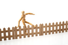 Dummy jumping the border Stock Images