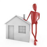 Dummy leaning on house icon Royalty Free Stock Photo