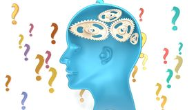 Dummy man - human head with broken mechanism replacing the brain. Dummy man - human head with twisted and misaligned wooden cogwheels inside, symbolizes Stock Photo