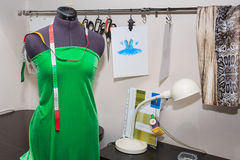 Dummy. Mannequin dressed in gown to be in the studio fashion designer clothing royalty free stock photography