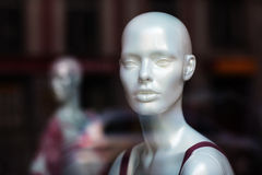 Dummy model in window store Stock Image