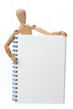 Dummy and notebook. Dummy showing an empty notebook for filling it Stock Photo