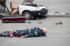 Dummy representing a car accident Royalty Free Stock Image