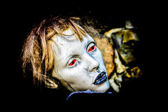 Dummy Scary. Female dummy scary Face, partially isolated (Night Scene royalty free stock images