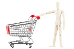 Dummy with shopping cart Stock Images