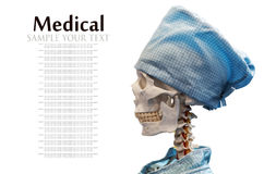 Dummy skeleton in medical gown and cap Royalty Free Stock Photos