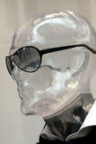 Dummy with sunglasses. Transparent mannequin head with sunglasses Stock Image