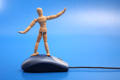 Dummy surfing the net Stock Images