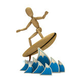 Dummy surfs. 3D wooden dummy on waves Stock Images